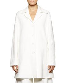 Back-Belted Lightweight A-Line Coat, White