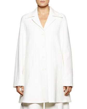 Back-Belted Lightweight A-Line Coat, White