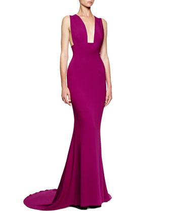 Wide-Strap Deep-Plunge Godet Gown, Hyacinth