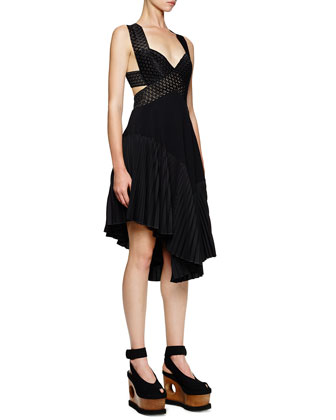 Asymmetric Cutout Crisscross Dress, Black