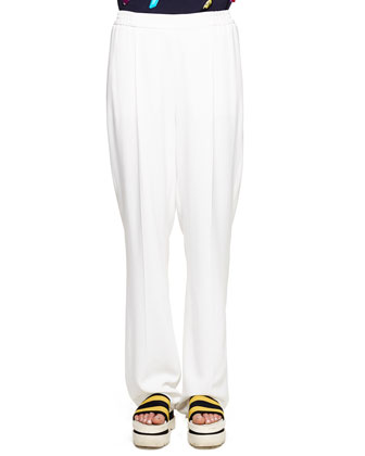 Soft Pleated Fluid Crepe Trousers