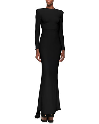 Jewel-Neck Open-Back Godet Gown, Black