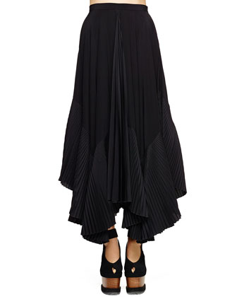 Pleated-Inset A-Line Silk Skirt