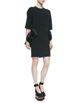 Satin Ruffle-Trimmed Crepe Dress, Black