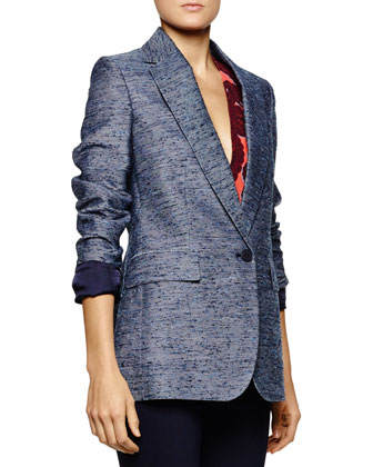 Long Tweed Single-Button Blazer