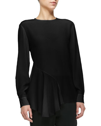 Asymmetric Side-Ruffle Blouse, Ink