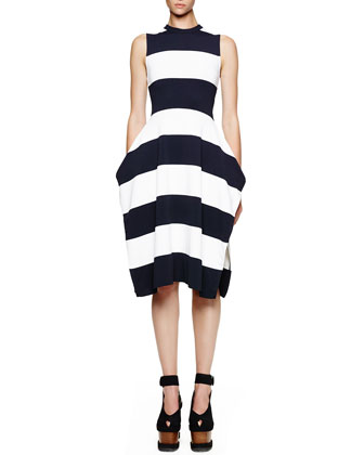 Wide-Stripe Sleeveless Slit Dress