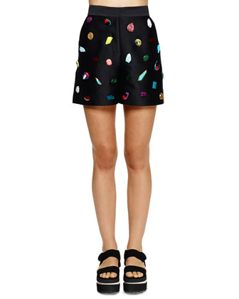Jeweled Relaxed Sateen Shorts