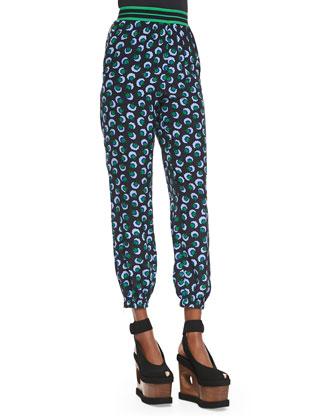 Stripe-Waistband Blossom-Print Silk Pants