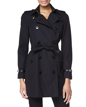 Mid-Length Modern Fit Trench Coat, Black