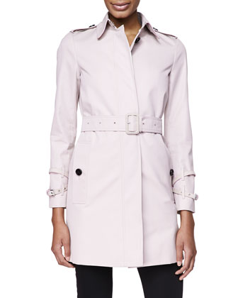Straight Hidden-Placket Trench Coat, Ice Pink