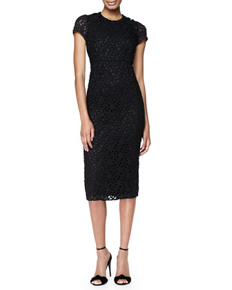 Silk Lace Midi Dress, Black