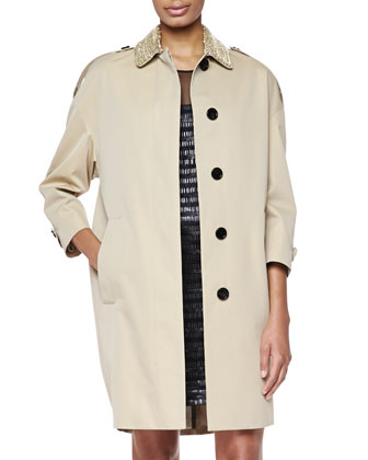 Embellished-Collar Relaxed Trenchcoat