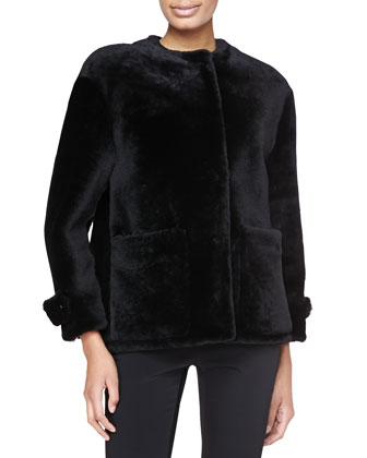 Lamb Shearling Fur Jacket, Black