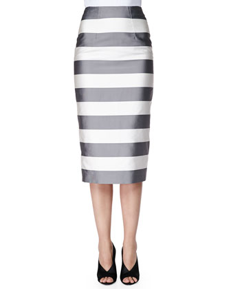 Striped Midi-Length Pencil Skirt