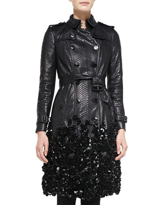 Embellished Python Trench Coat, Black