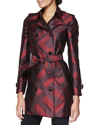 Check Silk Modern-Fit Trench Coat, Mahogany Red