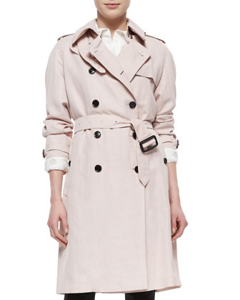 Double-Breasted Trenchcoat, Ice Pink