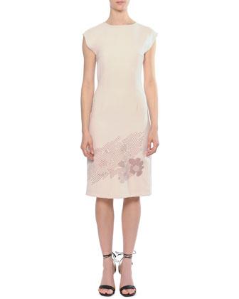 Embroidered-Bottom Cap-Sleeve Sheath Dress