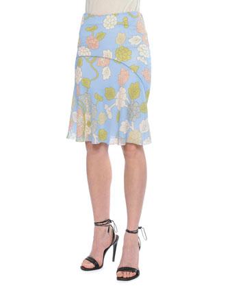 Waist Stitch Bias Skirt