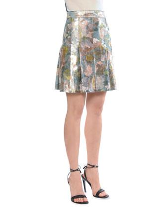 Metallic Tulip-Print Pleated Skirt