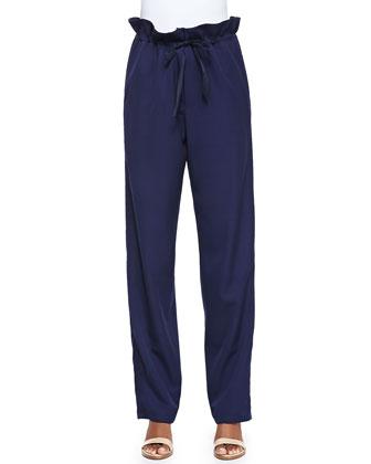 Super 120s Wool Paperbag-Waist Pants