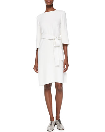 Crescent-Sleeve Dress with Belt