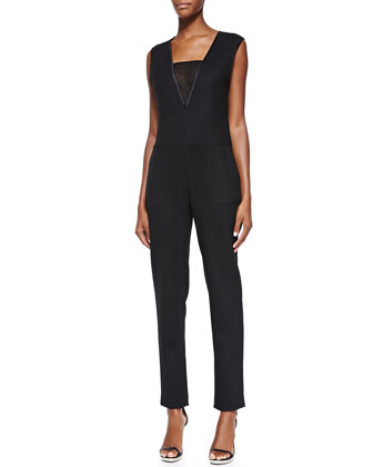 Sheer-Inset V-Neck Jumpsuit, Black
