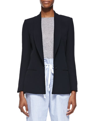 Side Vent Shawl Collar Blazer, Black