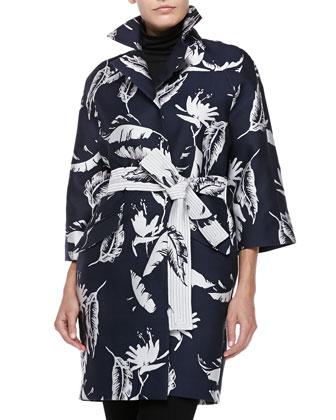 Floral-Jacquard Opera Coat, Navye/White