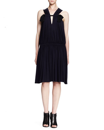 Sleeveless Ruched Drop-Waist Dress, Ink
