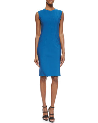 Jewel-Neck Vertical-Seamed Sheath Dress