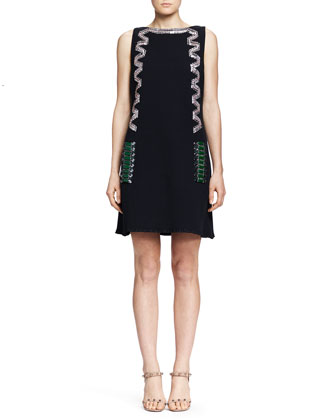 Deco Beaded Shift Dress, Black