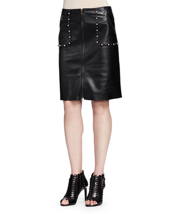 Studded Zip-Front Leather Skirt, Black