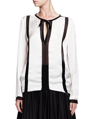 Contrast-Embroidered Blouse, Ecru