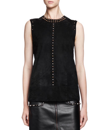 Sleeveless Studded Suede Top