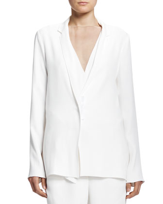 Soft Jacket with Grosgrain Snap, White