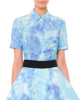 Short-Sleeve Tie Dye Blouse