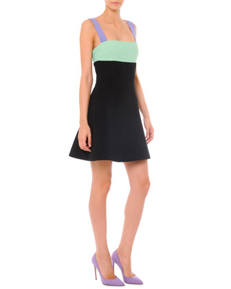 Strappy Colorblock A-Line Dress