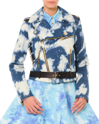 Bleached Cloud-Print Denim Moto Jacket