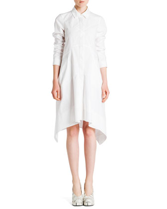 Long-Sleeve Button-Front Shirtdress, White