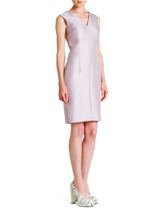 Sleeveless Seamed V-Neck Dress