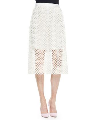 Net Lace Midi Skirt
