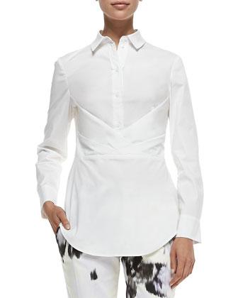 Button-Down Shirt W/ Crisscross Drape