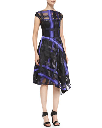 Ribbon-Plaid Draped Dress