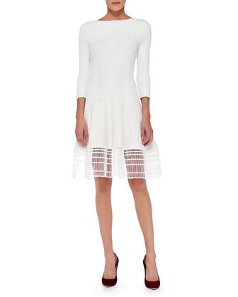 3/4-Sleeve Dress W/ Railroad Lace Hem, White