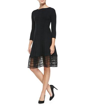 3/4-Sleeve Dress W/ Railroad Lace Hem, Black