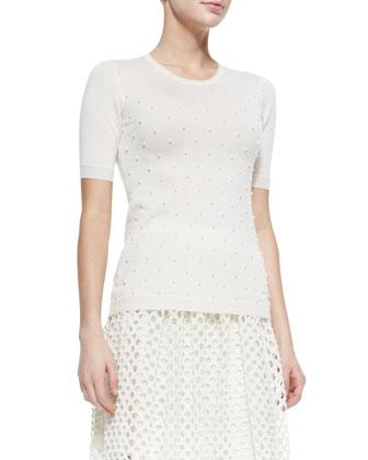 Pearl-Beaded Short-Sleeve Sweater