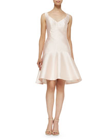 Drop-Waist Fit-and-Flare Faille Dress