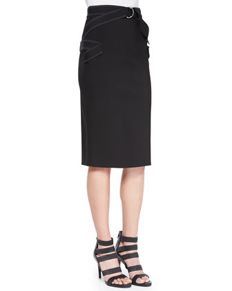 Contrast Zigzag Pencil Skirt, Black